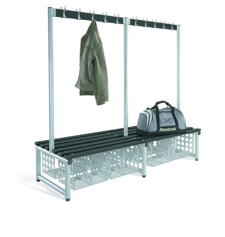 Double sided cloakroom bench unit with garment hanging and shoe storage.