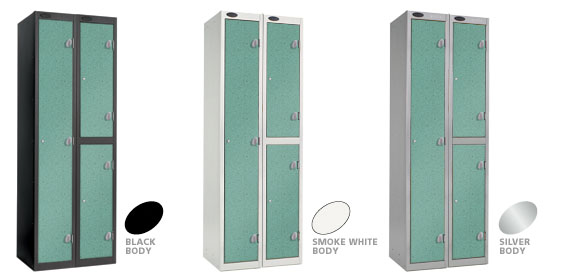 Aquamarine Locker Doors with Black, Silver or Smoke White Carcase colour options.