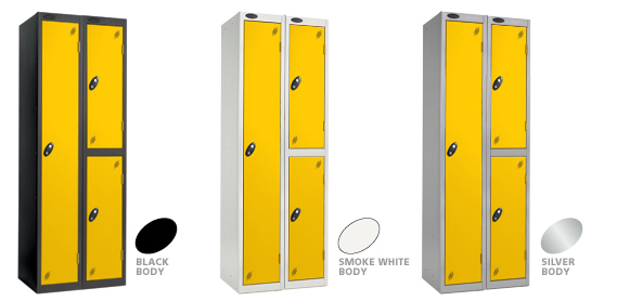 Yellow Door Lockers with Black, Grey & Smoke White Carcase options.